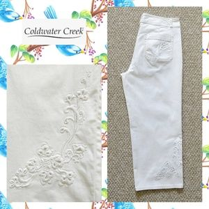 Coldwater Creek embroidered cutout floral capris